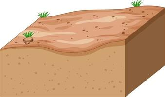 Layers of soil isolated on white background vector