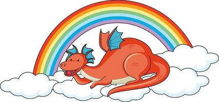 Simple cartoon character of dragon laying on the cloud isolated vector