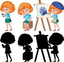conjunto de un personaje de dibujos animados de niña haciendo diferentes actividades con su silueta vector