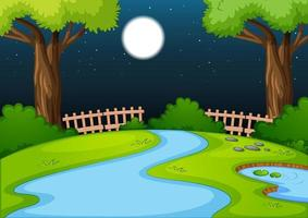 Empty park scene with many trees and river at night vector