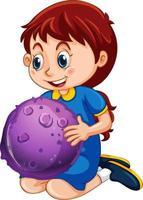 personaje de dibujos animados de niña feliz sosteniendo un modelo de planeta vector