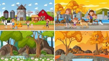 Set of different nature background scenes vector
