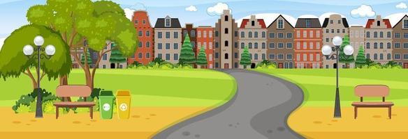 Horizontal scene at day time with long road through the park into the town vector