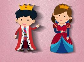Little king and queen cartoon character on pink background vector