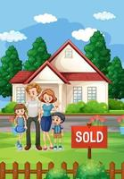 Outdoor scene with family standing in front of a house for sale vector
