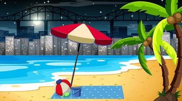 Tropical beach landscape scene at night with cityscape background vector
