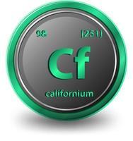 elemento químico californio. símbolo químico con número atómico y masa atómica. v vector