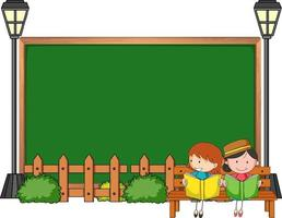 Empty blackboard with many kids doodle cartoon character isolated vector