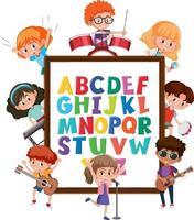 tablero del alfabeto az con muchos niños haciendo diferentes actividades