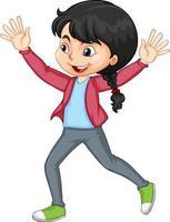 niña empujando las manos hacia arriba baile personaje de dibujos animados aislado vector