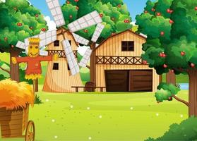 Farm scene with farmhouse and windmill vector