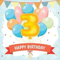 Happy birthday celebration card with number 3 balloon vector