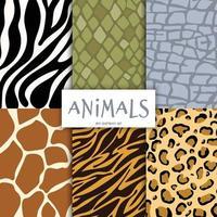 animals print pattern set vector