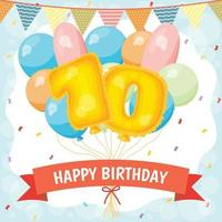 Happy birthday celebration card with number 10 balloons