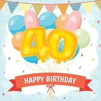 Happy birthday celebration card with number 40 balloons vector