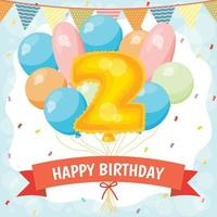 Happy birthday celebration card with number 2 balloon vector