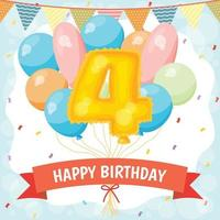 Happy birthday celebration card with number 4 balloon vector
