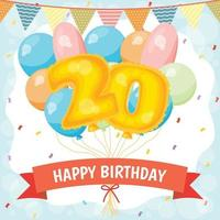 Happy birthday celebration card with number 20 balloons vector