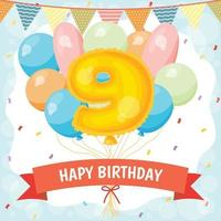 Happy birthday celebration card with number 9 balloon vector