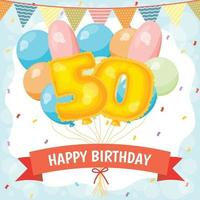 Happy birthday celebration card with number 50 balloons