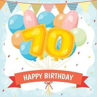 Happy birthday celebration card with number 70 balloons vector