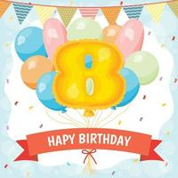 Happy birthday celebration card with number 8 balloon vector