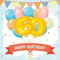 Happy birthday celebration card with number 60 balloons vector
