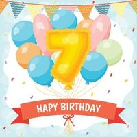 Happy birthday celebration card with number 7 balloon vector