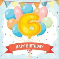 Happy birthday celebration card with number 6 balloon vector