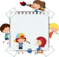 Blank paper with many kids cartoon character isolated vector