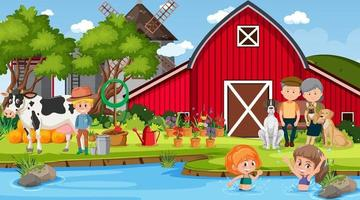 Farm scene with many kids and farm animals vector
