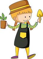 Little gardener doodle cartoon character vector