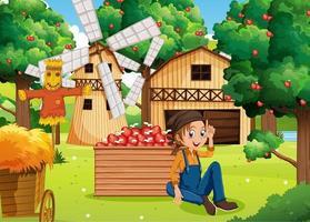 Farm scene with farmer girl harvests apples vector