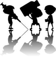 conjunto de silueta de niños con reflejo vector