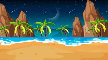 Tropical beach scene with many palm trees at night vector
