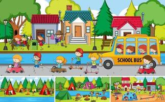 Outdoor scene set with many kids doodle cartoon character vector