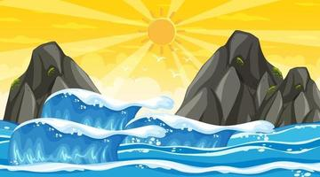 Beach landscape at sunset scene with ocean wave vector