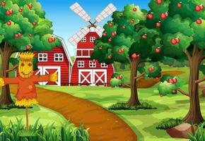 Farm scene with red barn and windmill vector