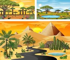 Different nature horizontal scenes in cartoon style vector