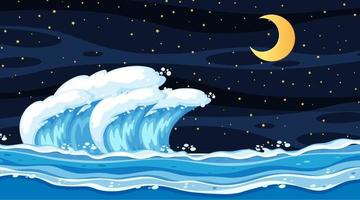 Beach landscape at night scene with ocean wave vector