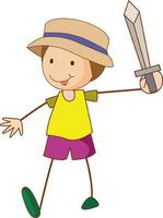A doodle kid holding a sword cartoon character isolated vector
