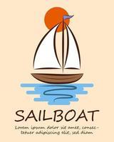 Sailboat logo line art eps 10 vector