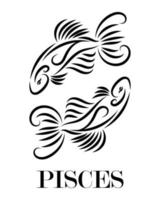 Pisces zodiac line art vector eps 10