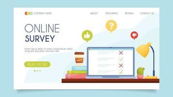 Online survey. Landing page concept. Flat design, vector illustration.