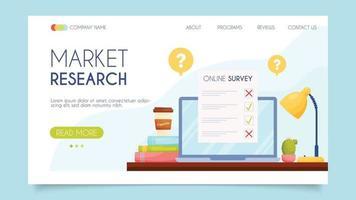 Market research. Landing page concept. Flat design, vector illustration.