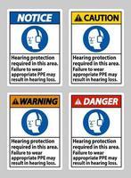 Se requiere protección auditiva en esta área, no usar el equipo de protección personal adecuado puede resultar en pérdida auditiva. vector