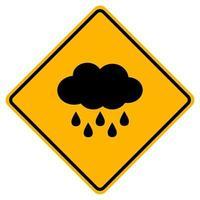 Signo de nube de advertencia sobre un fondo blanco.