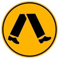 Los peatones signo amarillo redondo sobre fondo blanco.