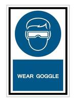 Symbol wear goggles Sign Isolate On White Background vector