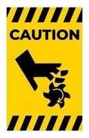 Caution Cutting of Fingers Rotating Blade Symbol Sign On White Background vector